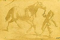 Earliest known, surviving heliographic engraving in existence, made by Nicéphore Niépce in 1825 by the heliography process. The image is of a 17th Century Flemish engraving showing a man leading a horse.