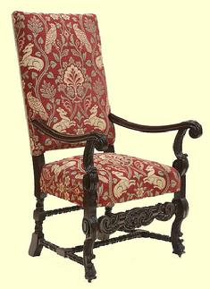 A most handsome 17th century style upholstered side / hall chair.