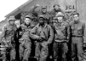 """Harbor Queen"" (3-C-1) patrol members. 1968. (Top row, L-R): Al Moore, Jerry Beasley. (Bottom row): Unk, Fred Ostrom, Robert Jenkins, Larry Harrod, Randy Rhoads."