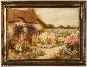 The cottage with the blue creeper, an Old English house near Aylesbury, bucks signed lower left: William Affleck, signed again and titled verso, watercolor on paper under glass, 12'' x 16.75''.