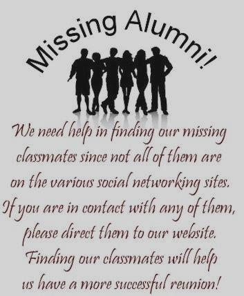 Click Here ~ We are looking for over 200 Missing Classmates ~ Our 45th Reunion is Auqust 27th, 2011