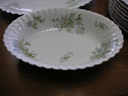 "Haviland Limoges Margaux 10 3/4"" Oval Serving Bowl"