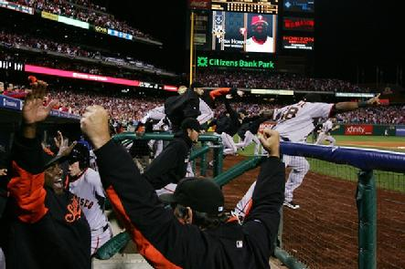 The San Francisco Giants celebrate defeating the Philadelphia Phillies 3-2 and winning the pennant in Game Six of the NLCS during the 2010 MLB Playoffs at Citizens Bank Park on October 23, 2010 in Philadelphia, Pennsylvania...