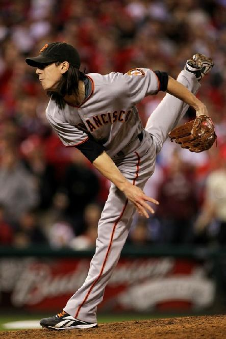 Tim Lincecum #55 of the San Francisco Giants pitches against the Philadelphia Phillies in Game Six of the NLCS during the 2010 MLB Playoffs...