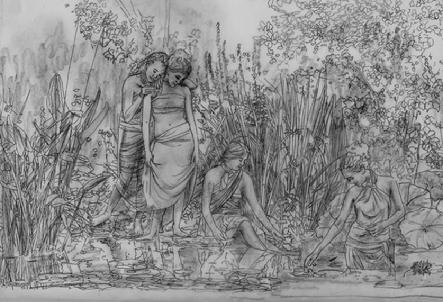 This is a preliminary drawing for a large oil painting on linen. All of Serena Rose's paintings begin with drawings like this.