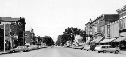 Main Street looking north from in front of the old High School (1960's)