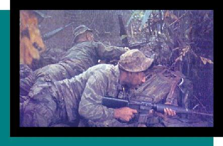Men of a Long Range Patrol Team of the U.S. 151st (Ranger) Infantry, as they engage the enemy, September 1969.