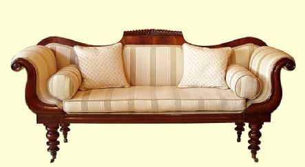 Victorian mahogany scroll end sofa