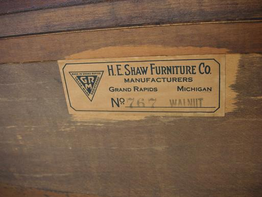 A circa 1920's walnut Buffet from H.E. Shaw Furniture Co. Manufacturers from Grand Rapids, Michigan.