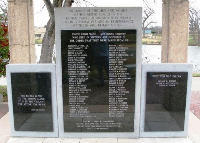 Click Here for the names on the Waco, TX Vietnam Memorial...