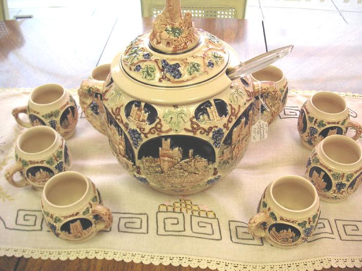 Vintage Gerz German Castle 10pc Punch Bowl Set Stoneware.