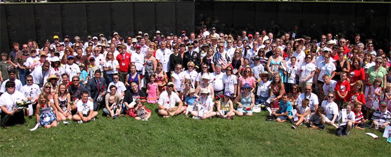 Families at the Vietnam Veterans Memorial - Photo by Gary Lee