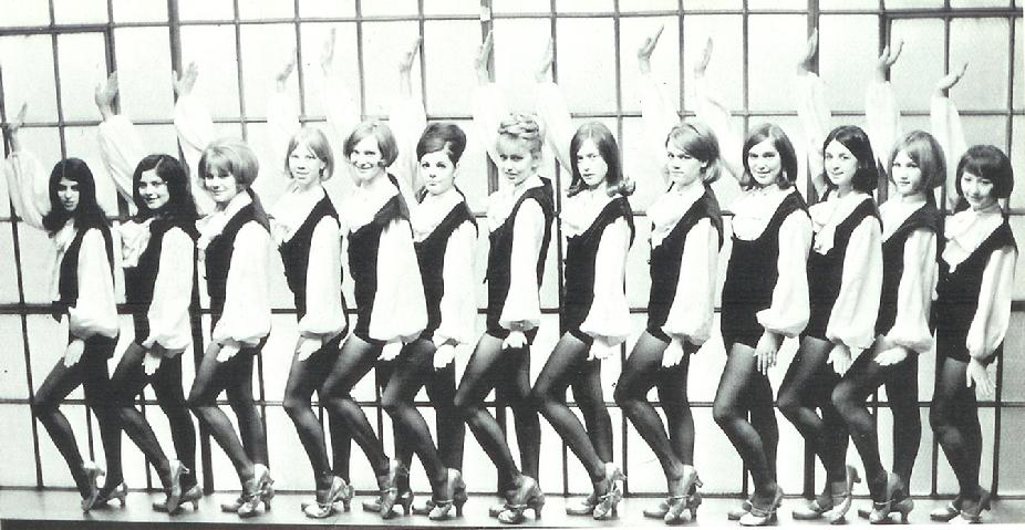 North High Polarettes 1966 Evonne Libson, Corona Relopez, Linda Evjen, Judy Volness, Lynette Jensen, Linda Larson, Marsha Johnson, Rachel Greenstein, Donna Merchant, Linda Shirmers, Carmen O'Brien, Georgiann Blasiak, Marie Stevens and Gayle LeFebvre (not in photo) do to a leg injury.