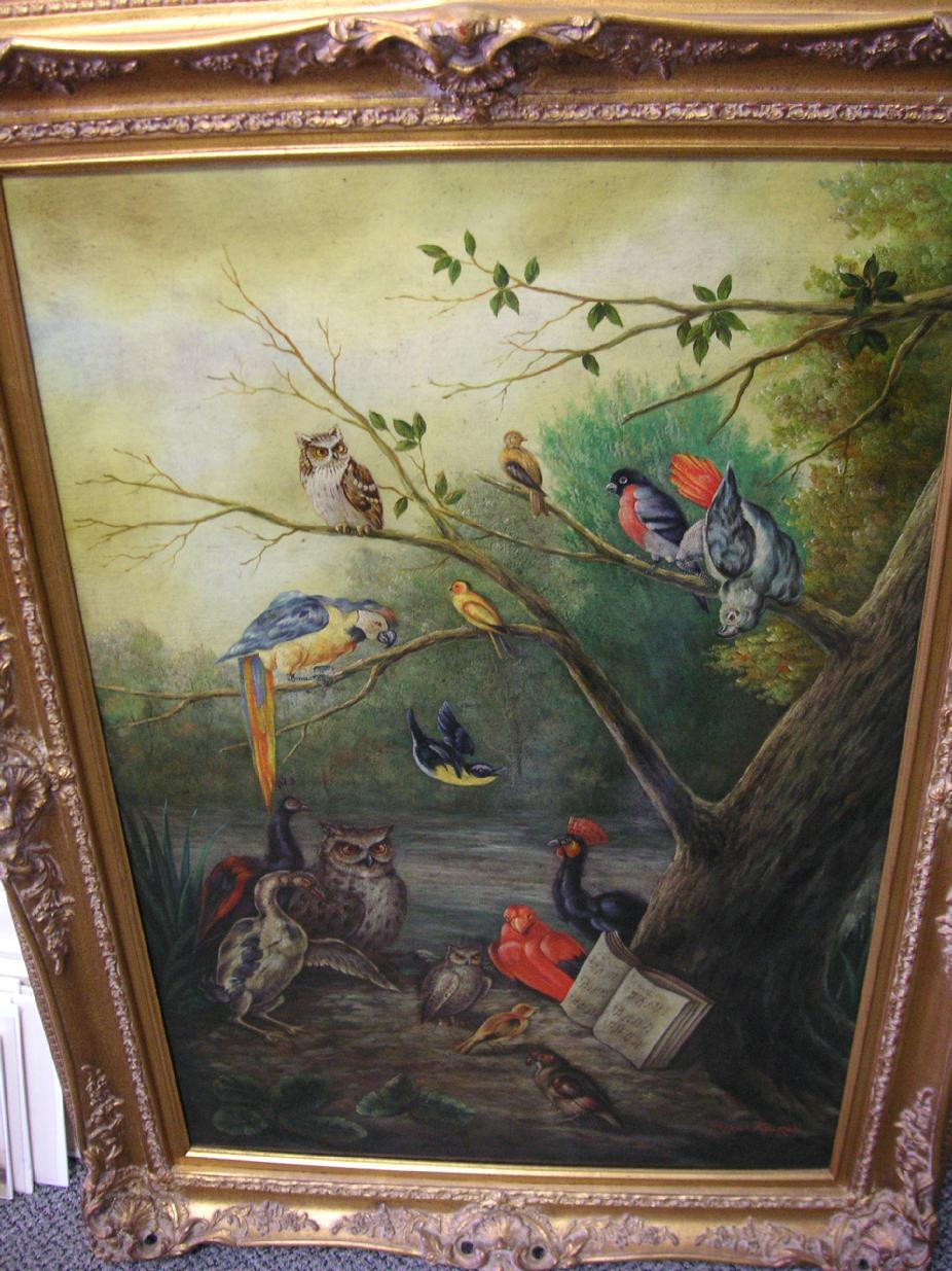 "Van KeuRen 1800's Oil on Canvas ""Birds In Paradise"""